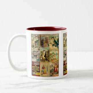 Puss del vintage en montaje del navidad de las taza de café de dos colores