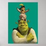 Puss en botas, burro, y Shrek Poster