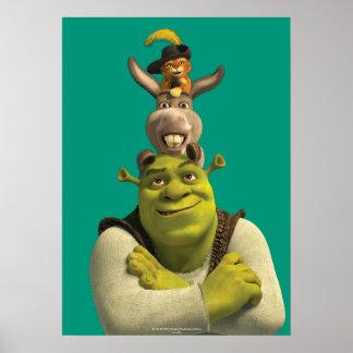 Puss en botas, burro, y Shrek Póster