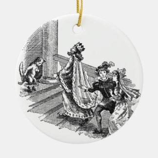 Puss en botas en la entrada del castillo adorno navideño redondo de cerámica