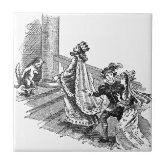 Puss en botas en la entrada del castillo azulejo cuadrado pequeño