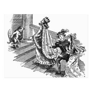 Puss en botas en la entrada del castillo tarjeta postal