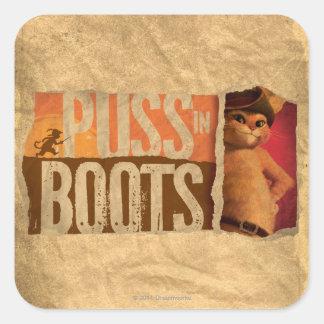 Puss en botas pegatina cuadrada