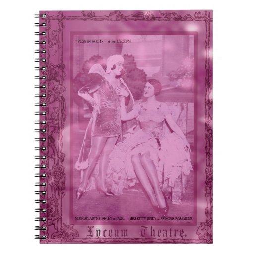 Puss en botas rosadas libros de apuntes con espiral