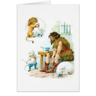 Puss en botas y el ogro, tarjeta de felicitación
