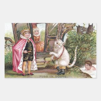 Puss en del rey Carriage de las botas y Pegatina Rectangular