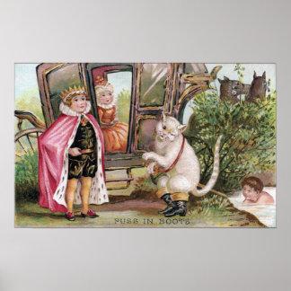 Puss en del rey Carriage de las botas y Póster