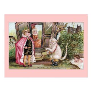 Puss en del rey Carriage de las botas y Tarjeta Postal