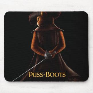 Puss en el negro del poster de las botas alfombrilla de ratones