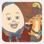 Puss & Humpty Run Square Sticker