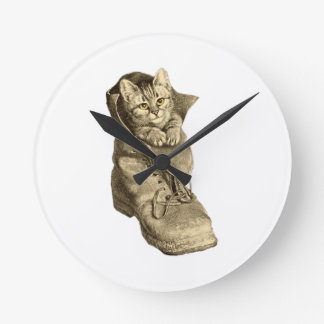 Puss In Boots Round Clocks
