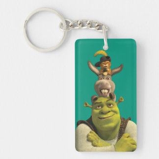 Puss In Boots, Donkey, And Shrek Double-Sided Rectangular Acrylic Keychain