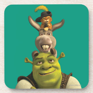 Puss In Boots, Donkey, And Shrek Drink Coaster
