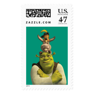 Puss In Boots, Donkey, And Shrek Postage Stamp