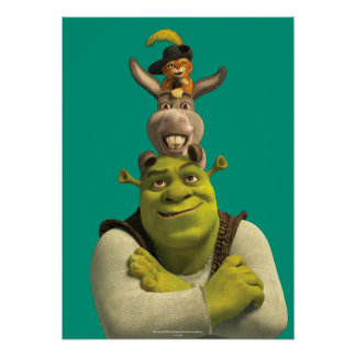 Puss In Boots, Donkey, And Shrek Poster