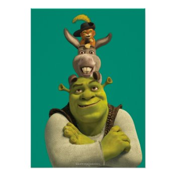 Puss In Boots  Donkey  And Shrek Poster by ShrekStore at Zazzle
