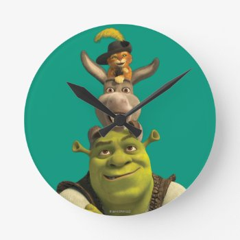Puss In Boots  Donkey  And Shrek Round Clock by ShrekStore at Zazzle