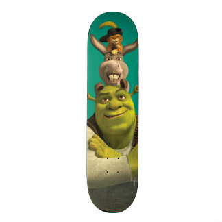 Puss In Boots, Donkey, And Shrek Skateboard Deck
