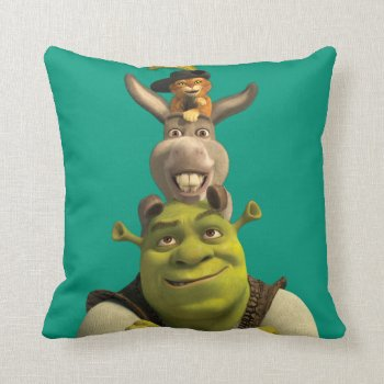 Puss In Boots  Donkey  And Shrek Throw Pillow by ShrekStore at Zazzle