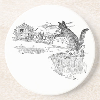 Puss in Boots Flags Down a Carriage Beverage Coaster