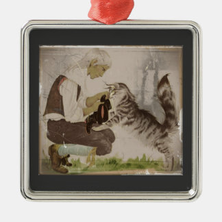 Puss in Boots Gets Boots Square Metal Christmas Ornament
