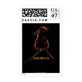 Puss In Boots Poster Blk Postage Stamp