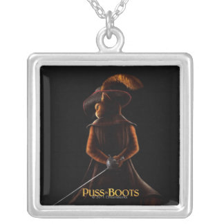 Puss In Boots Poster Blk Silver Plated Necklace