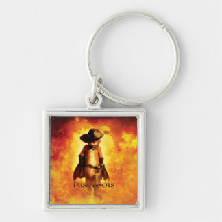 Puss In Boots Poster Silver-Colored Square Keychain