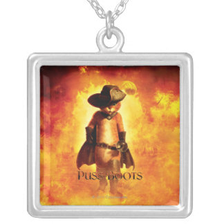 Puss In Boots Poster Square Pendant Necklace