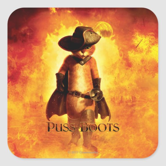 Puss In Boots Poster Square Sticker