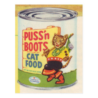 Puss In Boots Retro Design Postcard