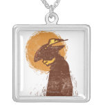 Puss In Boots Silhouette Square Pendant Necklace