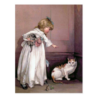 Puss in the Corner Vintage Illustration Postcard