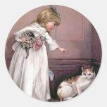 """Puss in the Corner"" Vintage Illustration Classic Round Sticker"