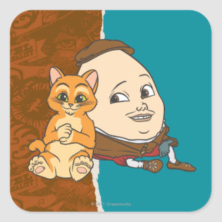 Puss joven y Humpty Calcomania Cuadradas Personalizadas