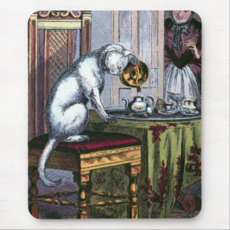 Puss Making Tea Vintage Illustration Mouse Pad