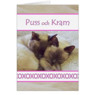 Puss och Kram, Hugs and Kisses in Swedish Greeting Card