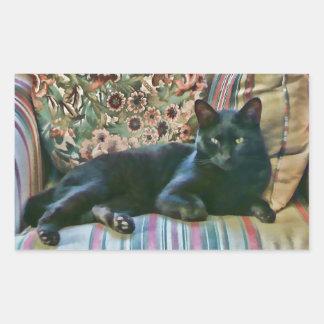 Puss orgulloso, gato negro pegatina rectangular