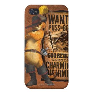 Puss querido en las botas (carbón de leña) iPhone 4 cárcasa