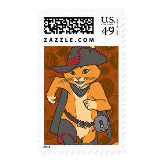 Puss Running Postage Stamps
