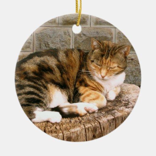 Pussels - Cat on a Stump Ceramic Ornament