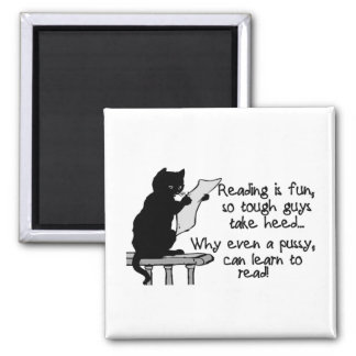 Pussy Can Read Funny Cat 2 Inch Square Magnet