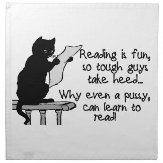 Pussy Can Read Funny Cat Cloth Napkin