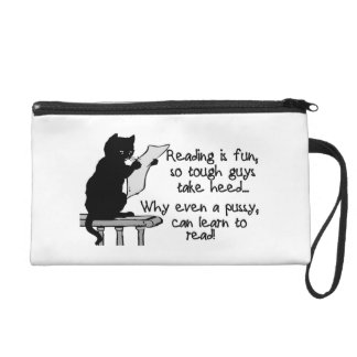 Pussy Can Read Funny Cat Wristlet Purse