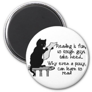 Pussy Can Read 2 Inch Round Magnet