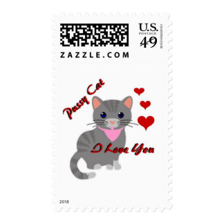 Pussy Cat / I Love You Postage Stamps