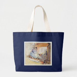 Pussy Cat Sits By the Fire Large Tote Bag