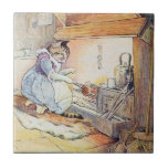 """Pussy Cat Sits By the Fire Tile<br><div class=""""desc"""">Miss Cat sits by the hearth at the fireplace cooking some scones for her guests. Illustration from Cecily Parsley&#39;s Nursery Rhymes by Beatrix Potter. PUSSY-CAT sits by the fire; How should she be fair? In walks the little dog, Says Pussy, &quot;Are you there?&quot; ✪ Try our other stores on Zazzle:...</div>"""