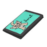 Pussy cat stylized girls aqua named purse trifold wallets
