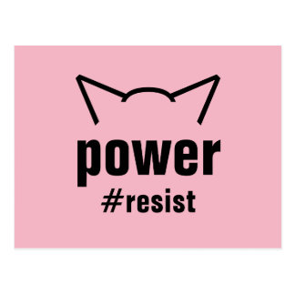 Pussy Power Cat Ears Pink Resist Women Postcard